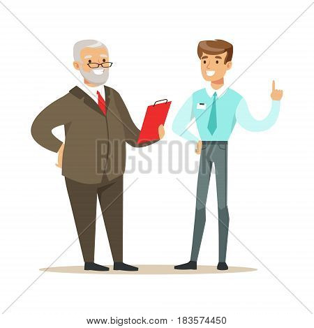 Smiling candidate during a job interview. Positive working in the office. Colorful cartoon character vector Illustration