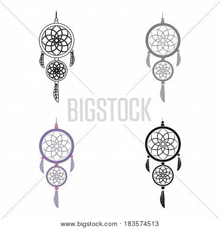 Dreamcatcher icon in cartoon design isolated on white background. Sleep and rest symbol stock vector illustration.