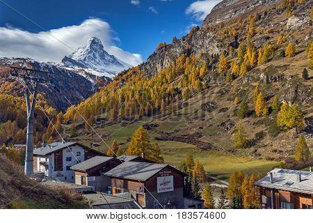 ZERMATT, SWITZERLAND - OCTOBER 27, 2015: Amazing view of Matterhorn from Zermatt, Switzerland