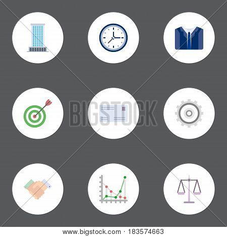 Flat Envelope, Handshake, Cogwheel Vector Elements. Set Of Business Flat Symbols Also Includes Mail, Watch, Cog Objects.