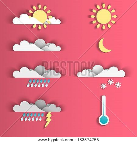 Set of 8 vector weather icons. Set of vector icons depicting some weather conditions.