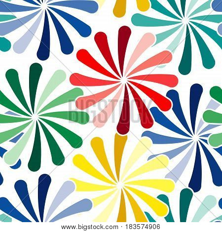 Vivid colorful repeating flower seamless background on white