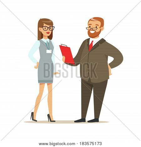Job interview with manager in office. Positive working in the office. Colorful cartoon character vector Illustration