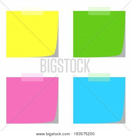 four note papers in multiple colors vector