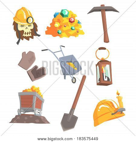 Gold mining, set for label design. Mining equipment, wild west. Colorful cartoon detailed vector Illustrations isolated on white background