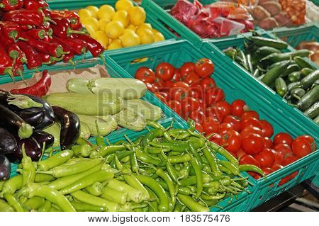 Vegetable shop. Fresh, organic vegetables and fruits are sold on the store counter in Istanbul.