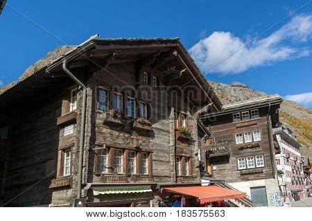ZERMATT, SWITZERLAND - OCTOBER 27, 2015: Amazing view of Zermatt Resort, Canton of Valais, Switzerland