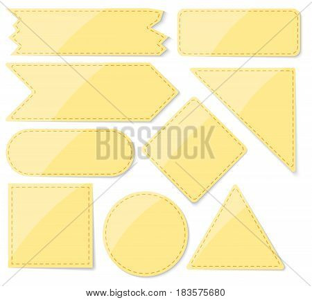 Set Of Blank Yellow Stickers With Space For Text. Flat Style