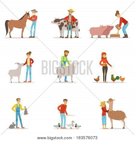Farmers breeding livestock. Farm profession worker people, farm animals. Set of colorful cartoon detailed vector Illustrations isolated on white background