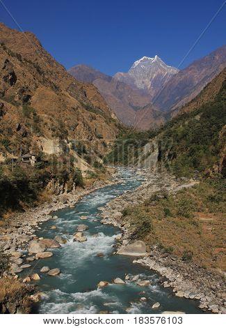 Kali Gandaki river and mount Nilgiri. Landscape in the Annapurna Conservation Area Nepal.