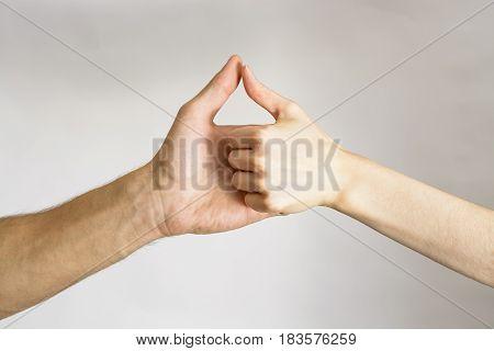Handshake men and women on white background