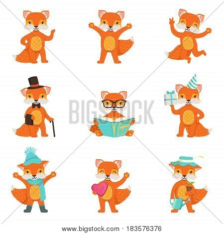 Cute little fox cartoon characters set for label design. Fox activities with different emotions and poses. Colorful detailed vector Illustrations isolated on white background