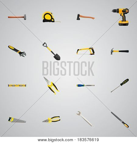Realistic Sharpener, Length Roulette, Plumb Ruler And Other Vector Elements. Set Of Instruments Realistic Symbols Also Includes Clippers, Sledge, Appliance Objects.
