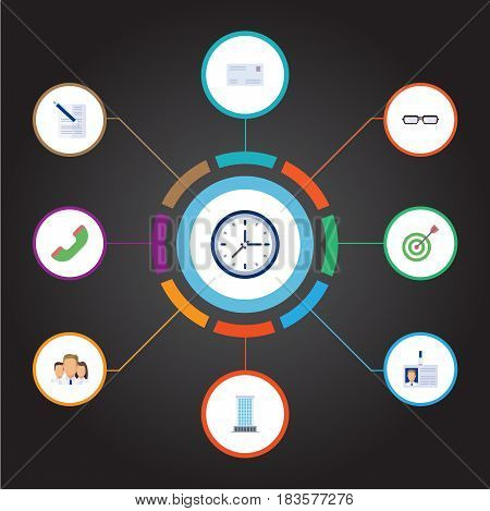Flat Envelope, Office, Group And Other Vector Elements. Set Of Employment Flat Symbols Also Includes Unity, Clock, Mail Objects.