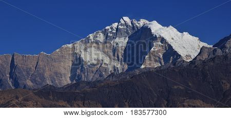 Annapurna 1 and Bharha Chuli high mountains in Nepal.