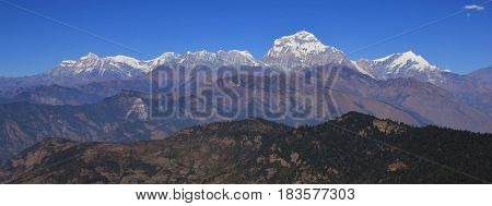 Dhaulagiri Tukuche Peak and other mountains of the Dhaulagiri range Nepal. Seventh highest mountain of the world.