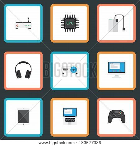 Flat Laptop, Router, Joystick And Other Vector Elements. Set Of Notebook Flat Symbols Also Includes Joystick, Palmtop, Phone Objects.