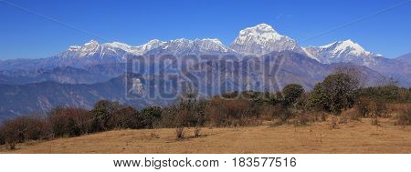 Dhaulagiri range seen from a place near Poon Hill Nepal. Seventh highest mountain of the world.