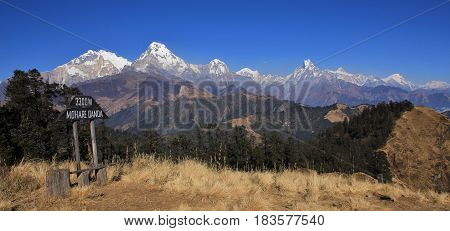 Annapurna range seen from Mohare Danda. Travel destination and view point in Nepal.