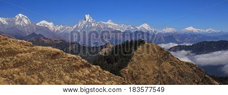 View from Mohare Danda. Mountains of the Annapurna range Nepal. Hiun Chuli Machapuchare Lamjung Himal and Manaslu range.