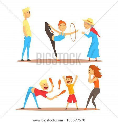 Girl doing gymnastics dance with hoop. Juggler playing with pins. Circus or street actors set of colorful cartoon detailed vector Illustrations isolated on white background