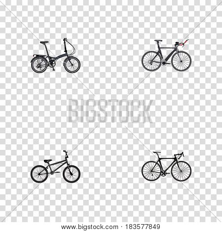 Realistic Extreme Biking, Exercise Riding, Folding Sport-Cycle And Other Vector Elements. Set Of Lifestyle Realistic Symbols Also Includes Folding, Bicycle, Bike Objects.