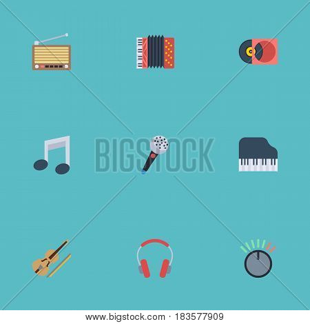 Flat Earphone, Knob, Tone Symbol And Other Vector Elements. Set Of Melody Flat Symbols Also Includes Violin, Retro, Volume Objects.