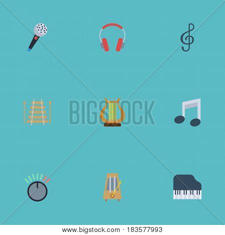 Flat Rhythm Motion, Octave Keyboard, Lyre And Other Vector Elements. Set Of Music Flat Symbols Also Includes Octave, Karaoke, Quaver Objects.