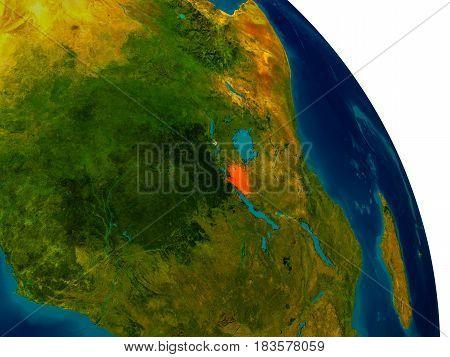 Burundi On Model Of Planet Earth