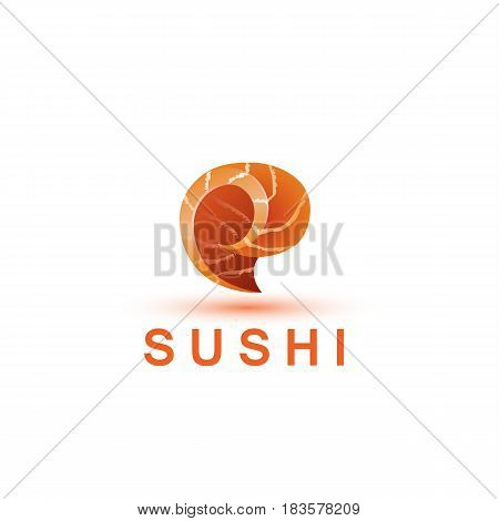 Sushi logo template. The letter E looks like a fresh piece of salmon fish.