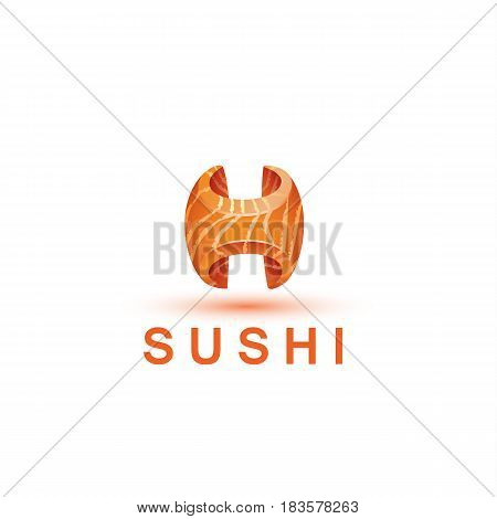 Sushi logo template. The letter H looks like a fresh piece of salmon fish.