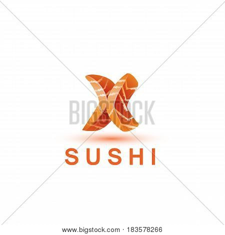 Sushi logo template. The letter X looks like a fresh piece of salmon fish.