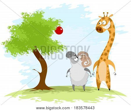 Vector illustration of a ram and giraffe