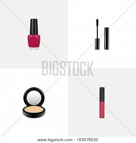 Realistic Blusher, Varnish, Eyelashes Ink And Other Vector Elements. Set Of Greasepaint Realistic Symbols Also Includes Blusher, Pomade, Makeup Objects.