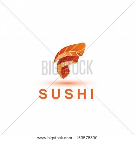 Sushi logo template. The letter F looks like a fresh piece of salmon fish.