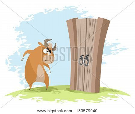 Vector illustration of a ox looking at gates