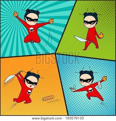 Super hero set, chef of japanese cuisine, comics art