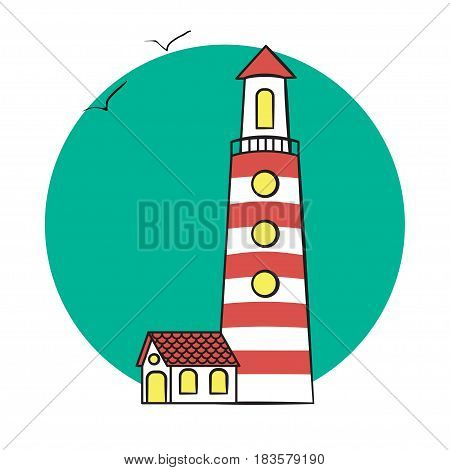 vector illustration of lighthouse on the sea. lighthouse on the background of the sun and birds. Lighthouse logo.