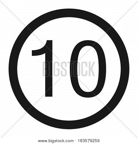 Maximum speed limit 10 line icon Traffic and road sign vector graphics a solid pattern on a white background eps 10.