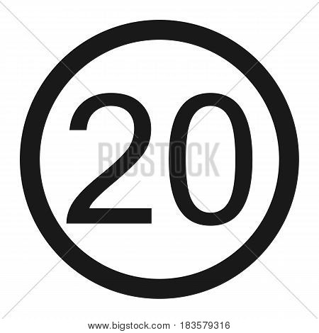 Maximum speed limit 20 line icon Traffic and road sign vector graphics a solid pattern on a white background eps 10.