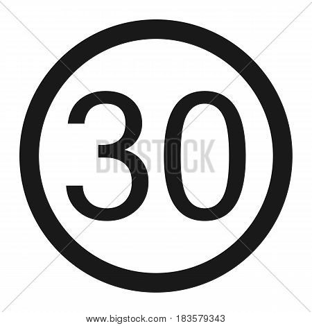Maximum speed limit 30 line icon Traffic and road sign vector graphics a solid pattern on a white background eps 10.