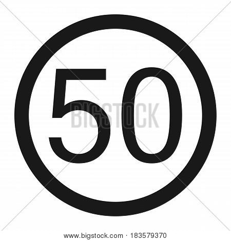 Maximum speed limit 50 line icon Traffic and road sign vector graphics a solid pattern on a white background eps 10.