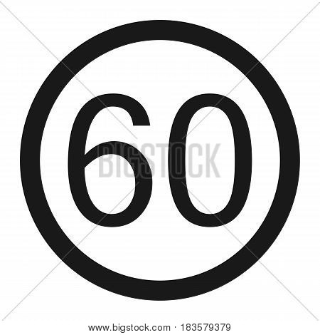 Maximum speed limit 60 line icon Traffic and road sign vector graphics a solid pattern on a white background eps 10.