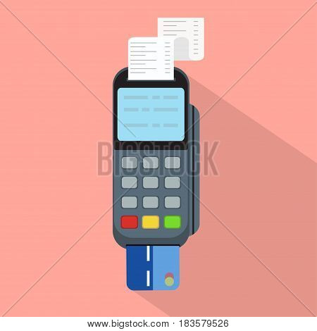 Pos terminal in flat style.Concept of cashless payment and credit card payment vector illustration