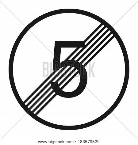 End maximum speed limit 5 sign line icon Traffic and road sign vector graphics a solid pattern on a white background eps 10
