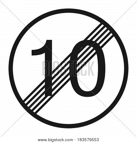 End maximum speed limit 10 sign line icon Traffic and road sign vector graphics a solid pattern on a white background eps 10.