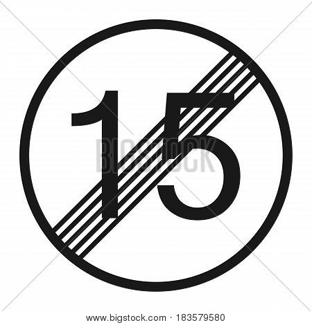 End maximum speed limit 15 sign line icon Traffic and road sign vector graphics a solid pattern on a white background eps 10.