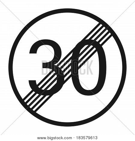 End maximum speed limit 30 sign line icon Traffic and road sign vector graphics a solid pattern on a white background eps 10.