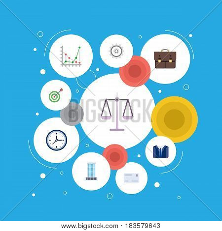 Flat Clock, Cogwheel, Portfolio And Other Vector Elements. Set Of Career Flat Symbols Also Includes Costume, Bag, Weight Objects.