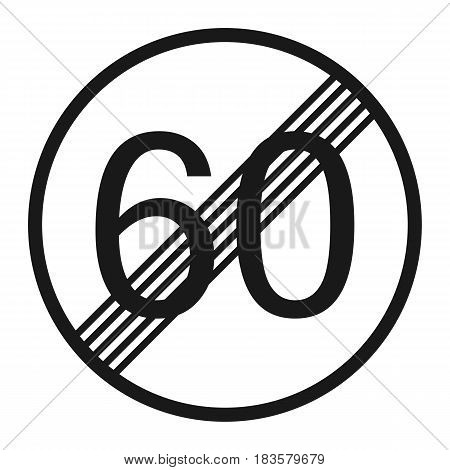 End maximum speed limit 60 sign line icon Traffic and road sign vector graphics a solid pattern on a white background eps 10.